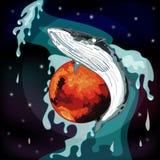 Реалистический кит в космосе с фонтаном стоковые фотографии rf
