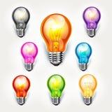 Реалистический комплект цвета электрической лампочки. Стоковое Изображение RF