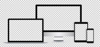Реалистический комплект электронных устройств, черного дисплея, компьтер-книжки, таблетки и телефона с пустым экраном иллюстрация штока