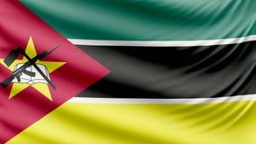 Реалистический красивый флаг 4k Мозамбика сток-видео
