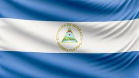 Реалистический красивый флаг 4k Никарагуа сток-видео