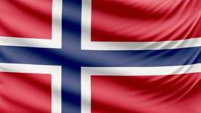 Реалистический красивый флаг 4k Норвегии видеоматериал