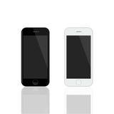 Реалистический модель-макет smartphones Smartphones вектора изолированные на белой предпосылке Стоковая Фотография RF