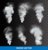 Реалистический прозрачный дым, пар вектор иллюстрация штока