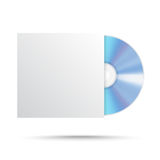 Реалистический пустой КОМПАКТНЫЙ ДИСК компакт-диска или DVD изолированные на белой предпосылке Стоковое Изображение RF