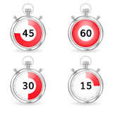 Реалистический секундомер с красным баром шкалы и секунд установите отметчики времени стоковые изображения
