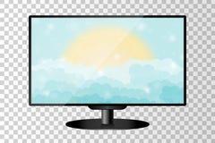 Реалистический современный изолированный монитор ТВ Облачное небо шаржа голубое сияющее с солнцем Стоковое фото RF