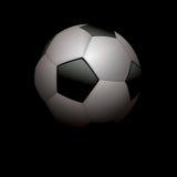 Реалистический футбол футбольного мяча на черной иллюстрации Стоковые Фото