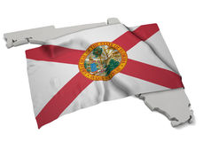 Реалистический флаг покрывая форму Флориды (серии) Стоковая Фотография