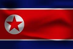 Реалистический флаг Северной Кореи Стоковое Изображение