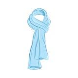 Реалистический шарф Аксессуары моды женщин Голубой объект изолированный на белой предпосылке Иллюстрация шаржа вектора в притяжке бесплатная иллюстрация