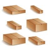 Реалистическими установленная картонными коробками изолированная иллюстрация вектора Закрытые значки коробки картона 3d поставки  иллюстрация штока