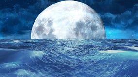 Реалистическое бурное море на ноче с луной, абстрактной предпосылкой Loopable иллюстрация штока