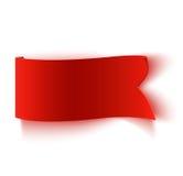Реалистическое детальное изогнутое красное бумажное знамя Стоковая Фотография RF