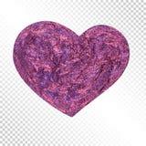 Реалистическое нарисованное вручную блестящее сердце для праздничного украшения иллюстрация вектора