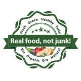 Реальная еда, не старье - printable ярлык иллюстрация вектора