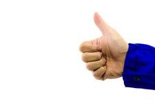 Реальная рука больших пальцев руки поднимает знак на белой предпосылке Стоковое Изображение RF