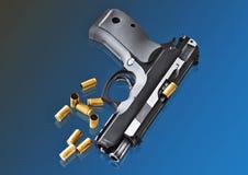 Реальное pistole 9mm оружия руки Стоковое фото RF