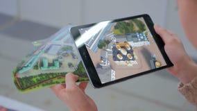 Реальность увеличенная таблеткой app Стоковая Фотография RF