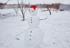 Реальный снеговик outdoors Стоковая Фотография RF