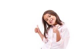 Ребенк давая 2 большого пальца руки вверх Стоковое Фото