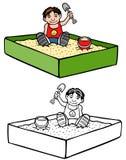 Ребенк в ящике с песком Стоковые Изображения