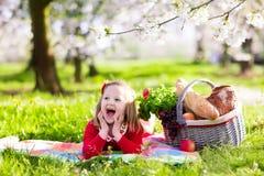 Ребенк имея пикник в зацветая саде Стоковые Изображения
