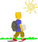 Ребенк идет к школе 2 иллюстрация штока