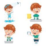 Ребенк купая, чистя щеткой зубы, моя руки после туалета иллюстрация вектора