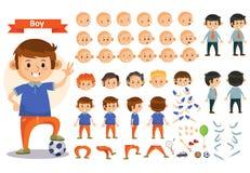 Ребенк мальчика играя футбол и игрушки vector значки частей тела конструктора характера ребенка шаржа иллюстрация вектора