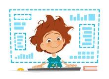 Ребенк мальчика сидя перед образованием монитора компьютера онлайн иллюстрация вектора