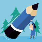 Ребенк нажимая большой карандаш Стоковое Фото