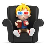 Ребенк нося стекло 3d пока наблюдающ Стоковые Фото