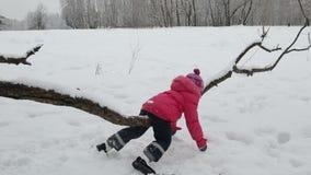 Ребенк отбрасывая на ветви сток-видео