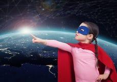 Ребенк супергероя против земли элементы перевода 3D этого изображения поставленные NASA стоковые фотографии rf