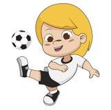 Ребенк футбола шаржа иллюстрация штока