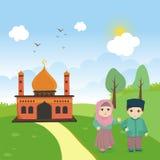 Ребенк шаржа исламский с мечетью и ландшафтом бесплатная иллюстрация