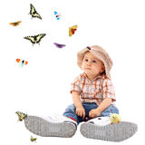 ребенок бабочки милый Стоковая Фотография