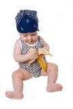 ребенок банана ест Стоковое Изображение RF