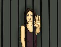 Ребенок в тюрьме Дети преступников штанги позади Стоковые Изображения