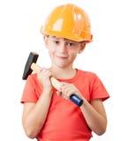 Ребенок в шлеме конструкции стоковые фотографии rf