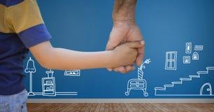 Ребенок держа руку взрослых с домашними чертежами Стоковые Фото