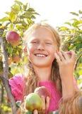 Ребенок (девушка) с яблоками. Стоковое фото RF