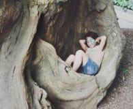 Ребенок девушки outdoors сидит в дереве с картиной стороны бабочки Стоковые Изображения RF