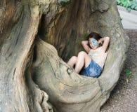 Ребенок девушки outdoors сидит в дереве с картиной стороны бабочки Стоковая Фотография RF