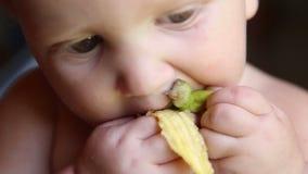 Ребенок есть банан с кожей акции видеоматериалы