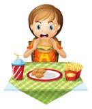 Ребенок есть на ресторане фаст-фуда иллюстрация штока