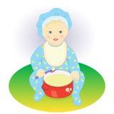 ребенок ест кашу бесплатная иллюстрация