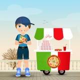 ребенок ест пиццу иллюстрация штока