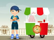ребенок ест пиццу бесплатная иллюстрация